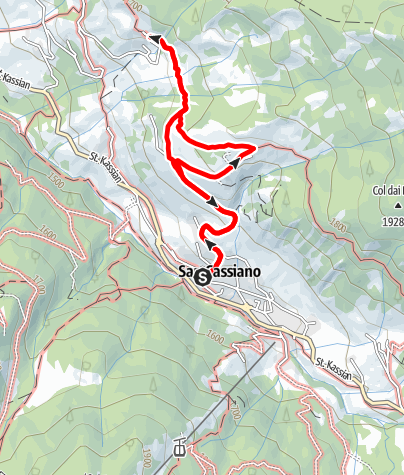 Map / From San Cassiano along the Tru di lersc/Larch wood path