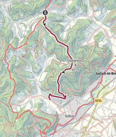 Karte / Tour 3k:  Vom Gscheid am Vögelestein vorbei nach Kollnau (2021,03)