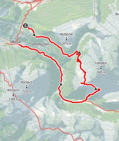 Karte / Vom Kristberg über den Gretschersee und die Untere Gaflunaalpe ins Silbertal