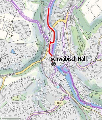 Karte / Umleitung Kocher-Jagst-Radweg in Schwäbisch Hall