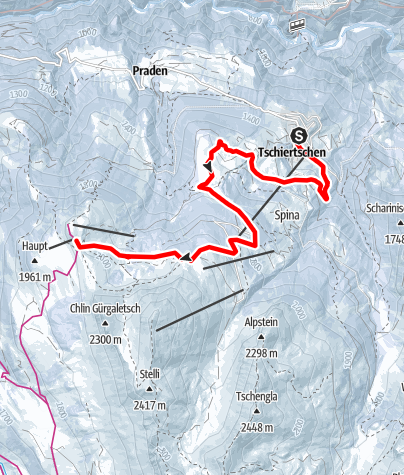 Karte / Tschiertschen – Hühnerköpf – Jochalp