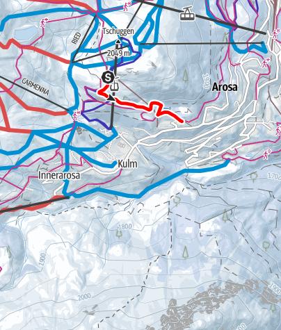 Karte / Tschuggen Schlittelbahn: Tschuggenhütte - Tschuggen Grand Hotel