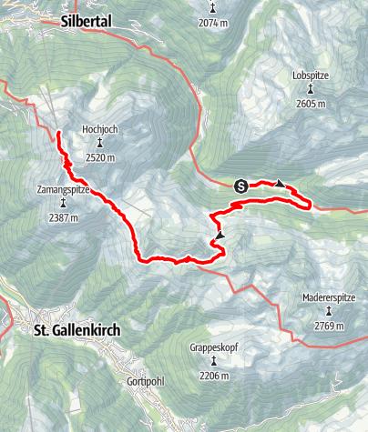 Karte / Von der Unteren Gaflunaalpe über Alpguessee zum Hochjoch