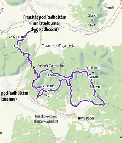 Mapa / Rock Point - Horská výzva 2019: Beskydy - LONG