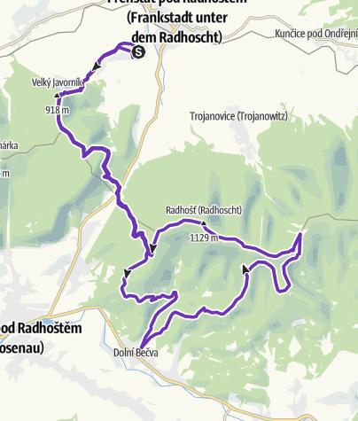 Karte / Horská výzva 2020: Beskydy - HALF