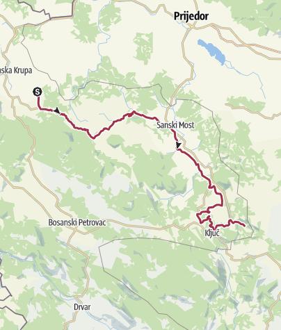 Mapa / BH-G Biciklistička tura Banjica - Žalin