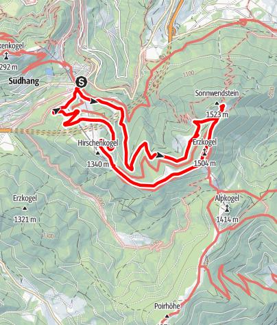 Mapa / Semmering - Sonnwendstein über Myrtengraben