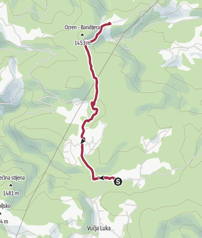 Map / from Vukov Konak to Ozren and back