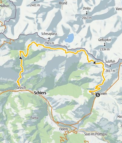 Karte / Entlang der Rocky Mountains des Prättigaus
