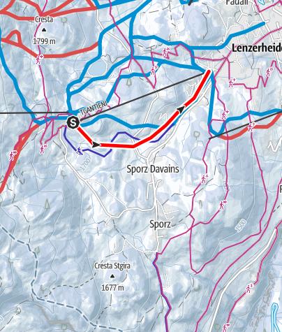 Kaart / Schlittelpiste Tgantieni-Val Sporz