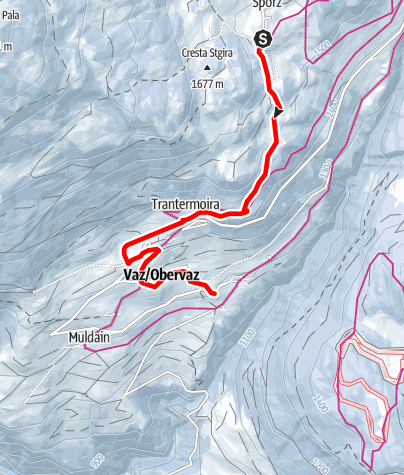 Karte / Schlittelpiste Sporz-Lain-Zorten