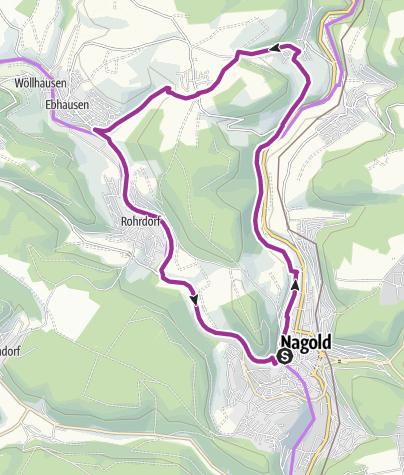 Karte / kleine Sommerrunde Nagold Longwyplatz - Pfrondorf - Schafstall - Mindersbach -Ebhausen - Rohrdorf - Longwyplatz