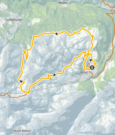 Map / Arosa - Hörnli - Urdensee lake - Löser - Ochsenalp - Arosa