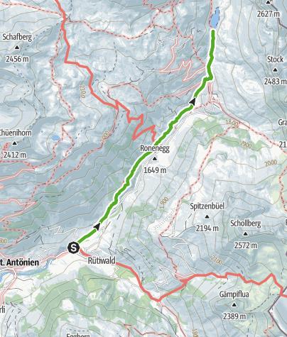 Karte / Einfache Wanderung zum Partnunsee, Abfahrt mit Trottinett