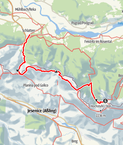 Karte / 03A Südalpenweg, E14: Klagenfurter Hütte - Rosenbach