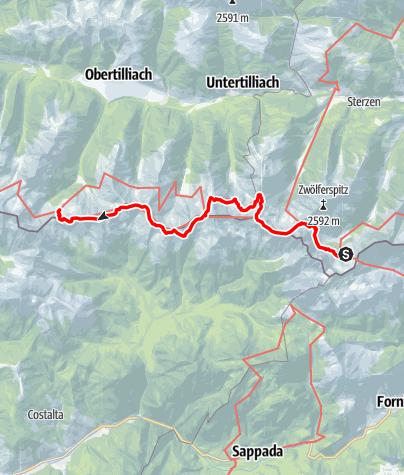 Mapa / 03A Südalpenweg, E23: Hochweißsteinhaus - Porzehütte