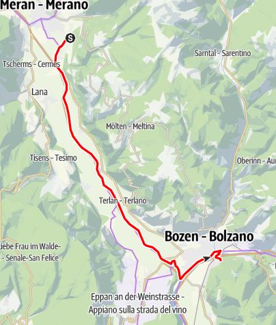 Karte / Etschradweg von Meran nach Bozen