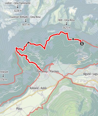 Mapa / Hochgang - Meraner Höhenweg - Nassereith - Partschins - Algund
