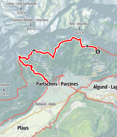 Mappa / Hochgang - Meraner Höhenweg - Nassereith - Partschines - Lagundo