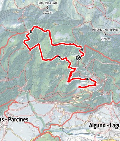 Mappa / Rifugio Leiter - Rifugio del Valico - Gamplweg - Velloi
