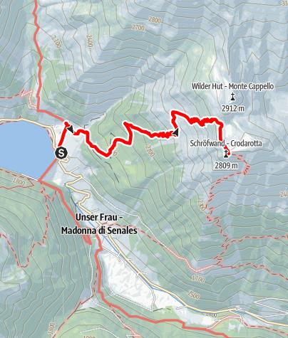 Map / Hiking tour to Crodarotta summit