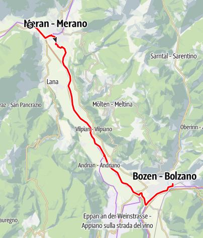 Cartina / Pista ciclabile Val d'Adige Lagundo - Bolzano
