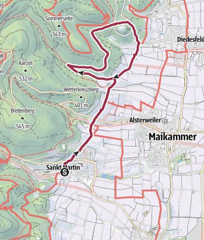 Karte / St. Martin - Rundweg zum Hambacher Schloss