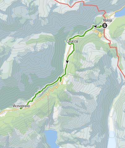 Karte / Via Bregaglia 1. Etappe: Maloja - Vicosoprano