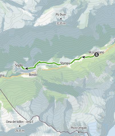 Karte / Via Bregaglia 2. Etappe: Vicosoprano - Soglio
