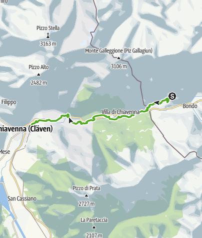 Karte / Via Bregaglia 3. Etappe: Soglio - Chiavenna