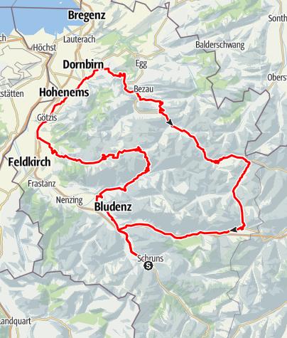 Map / Vorarlberg 4-Pässe Tour (Rund um Vorarlberg)