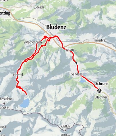 Map / Montafon - Brandnertal Tour (Lünersee Tour)