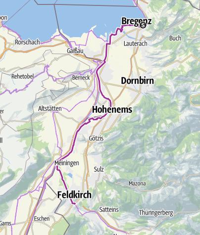 Karte / Rheintal Radweg