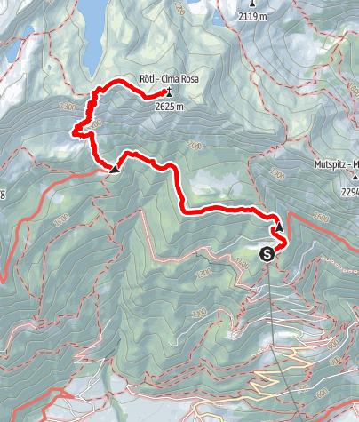 Map / Leiter Alm - Hochgangjoch - Rötelspitze