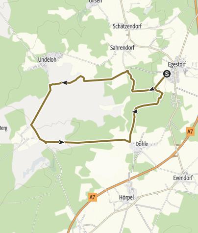 Karte / Schleifenroute DE - Große Heiderunde über Egestorf-Sudermühlen-Undeloh-Wilsede-Döhle