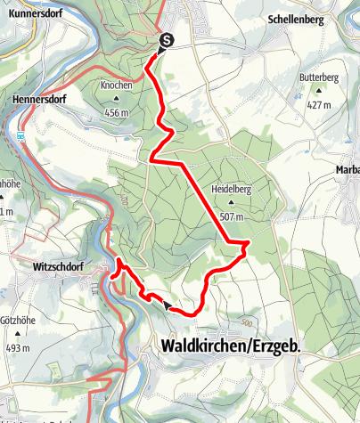 Karte / Wanderweg Augustusburg-Witzschdorf