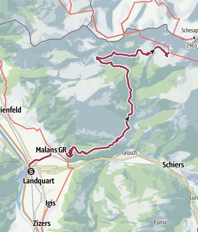 Karte / Etappe 1: Landquart–Schesaplanahütte, 72 Prättigauer Höhenweg