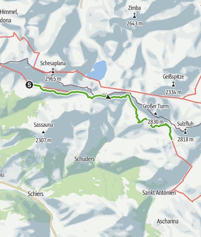 Karte / Etappe 2: Schesaplanahütte–Carschinahütte, 72 Prättigauer Höhenweg