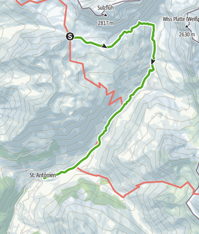 Karte / Etappe 3: Carschinahütte–St. Antönien, 72 Prättigauer Höhenweg