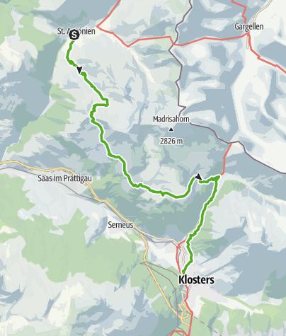 Karte / Etappe 4: St. Antönien–Klosters, 72 Prättigauer Höhenweg