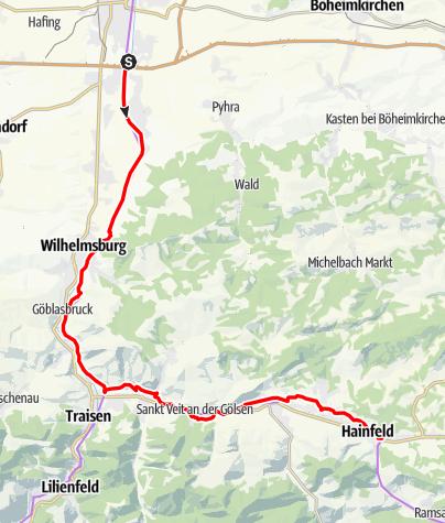 Karte / Wienerwald-Radrunde Etappe 3 - Wilhelmsburg bis Hainfeld