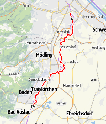 Térkép / Wienerwald-Radrunde Etappe 5 - Baden bis Wien Hauptbahnhof