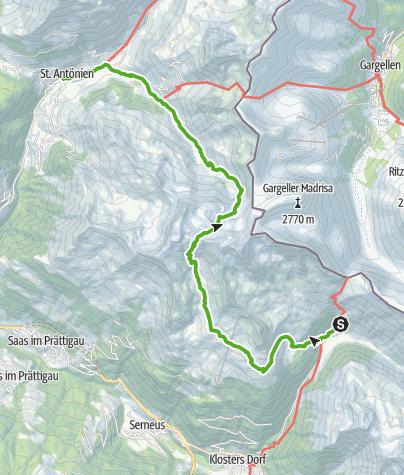 Cartina / 35.21 Walserweg Graubünden Etappe 21: Schlappin - St. Antönien Platz