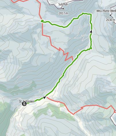 Cartina / 35.22 Walserweg Graubünden Etappe 22: St. Antönien Platz - Carschinahütte