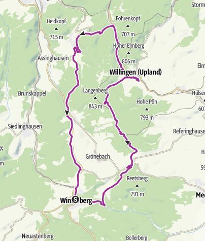 Kaart / Rundtour Winterberg-Willingen