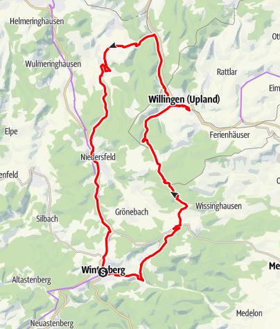 Karte / Rundtour Winterberg-Willingen