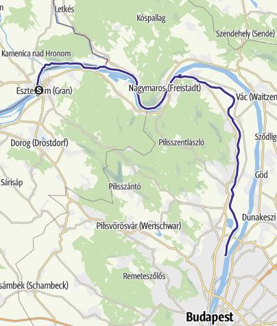 Karte / Esztergom-Budapest vízitúra