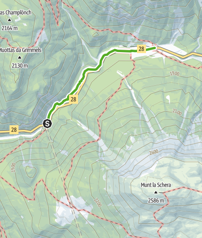 Karte / Punt la Drossa – Il Fuorn : Die Verbindungsroute
