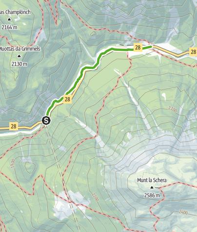 Map / Punt la Drossa – Il Fuorn : Die Verbindungsroute