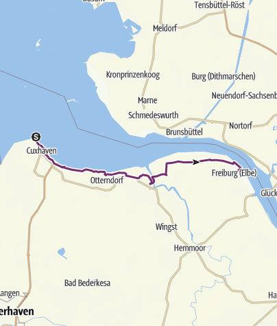 Karte / Elberadweg - Abschnitt von Cuxhaven bis Freiburg